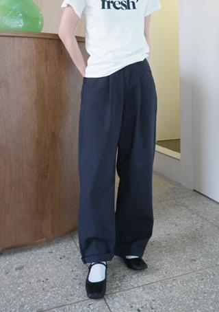 washing cotton pintuck pants パンツ