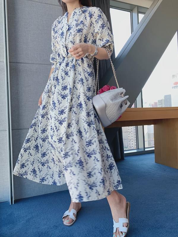 Blue Flower Flare Dress