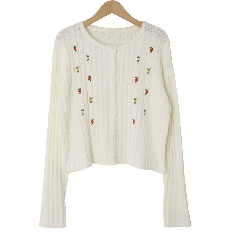 Vintage embroidered ribbed cardigan