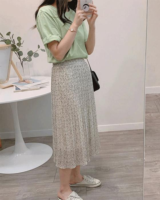 Printing pleated long skirt-2color