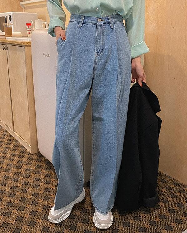 Formal outlook light denim pants