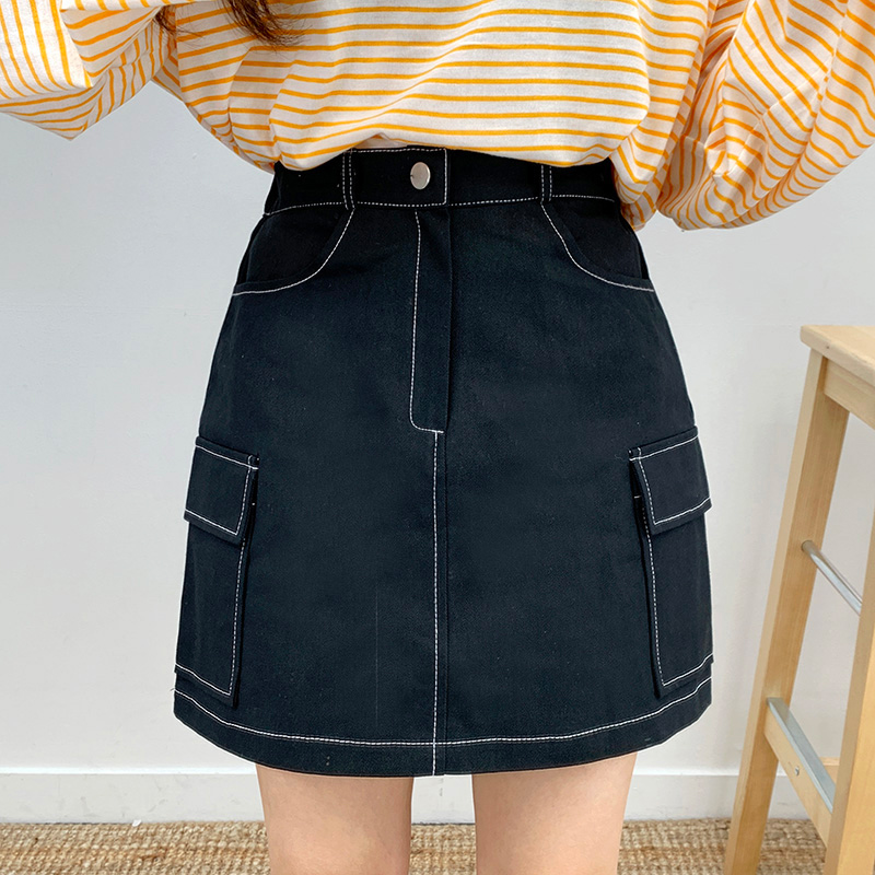 Star stitch pocket skirt