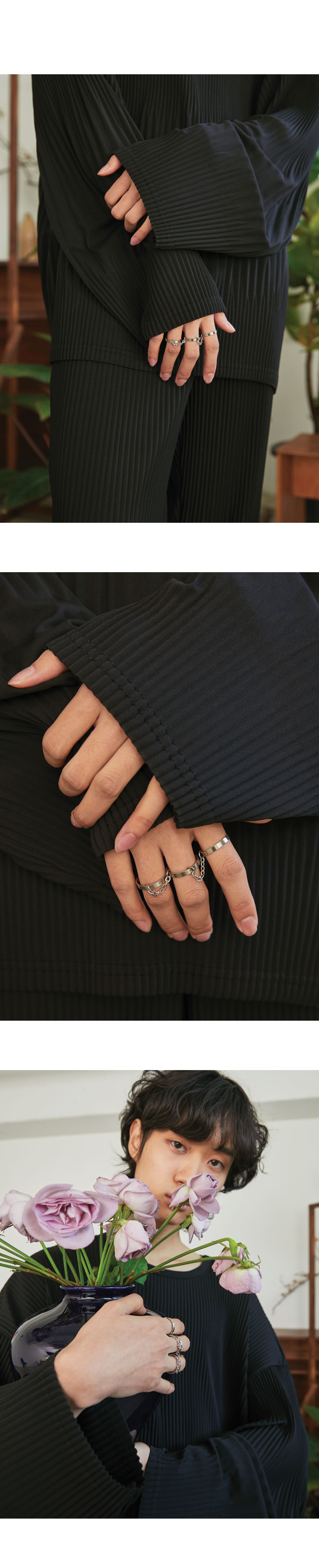 3 set chain silver ring
