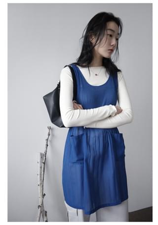 see-through pleats sleeveless ops