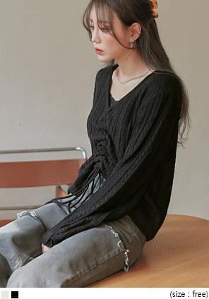BENNO TWIST STRING V NECK KNIT