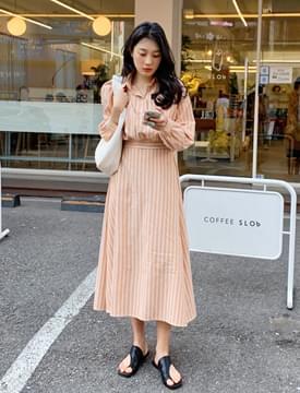 韓國空運 - Marine striped dress 及膝洋裝