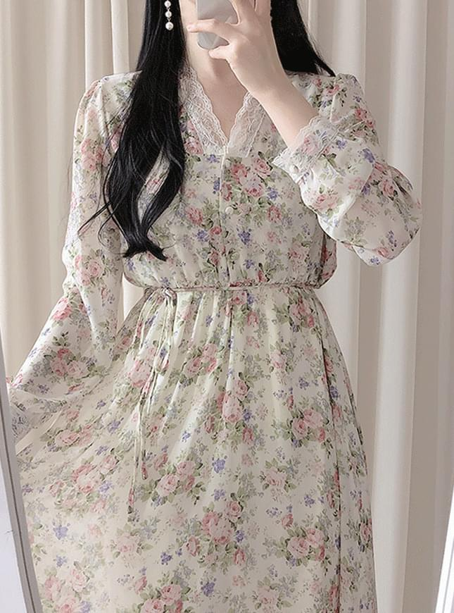 Biele Flower Long Dress ワンピース