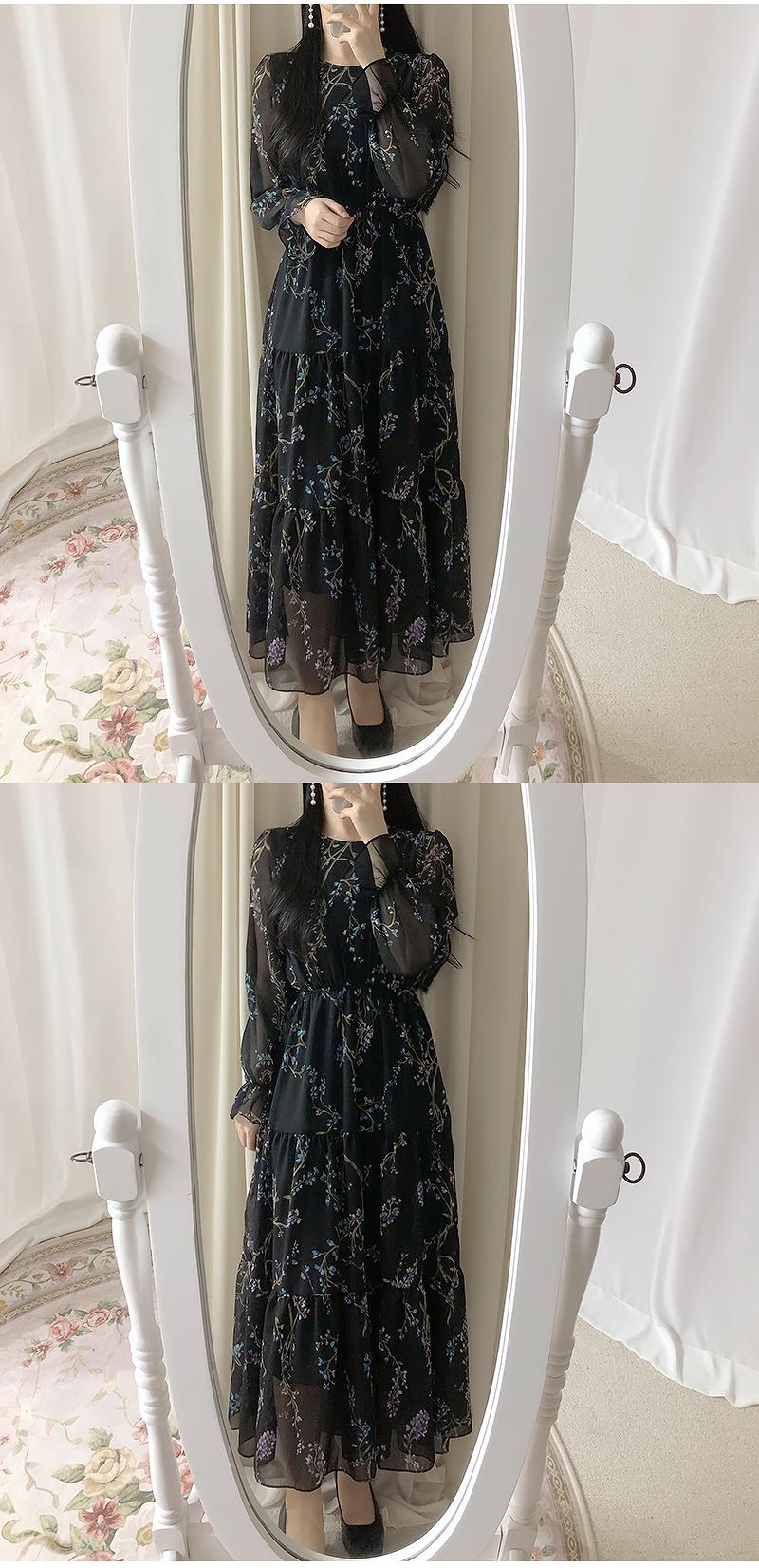 Milk Tea Floral Long Dress