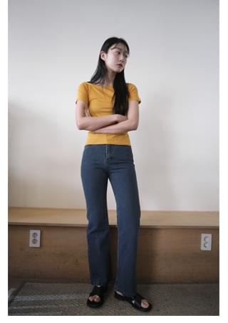 deep blue semi boots-cut denim pants