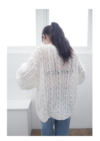loose cable boat-neck knit ニット