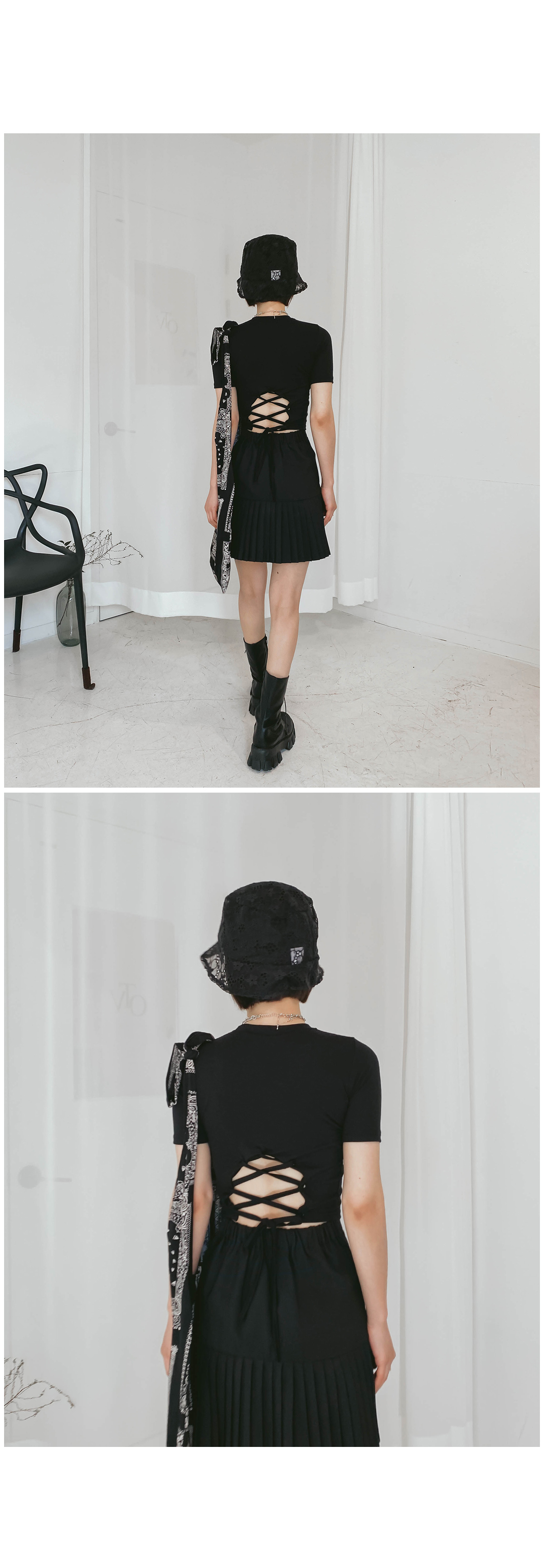 Back strap low cropped t-shirt