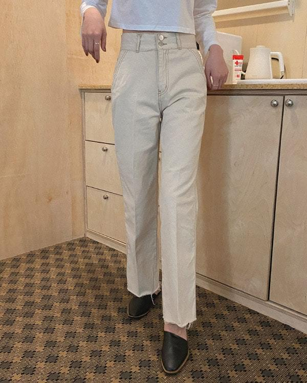 Stitched high-waist cotton trousers