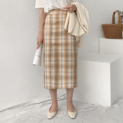 Dinel Check Long Skirt
