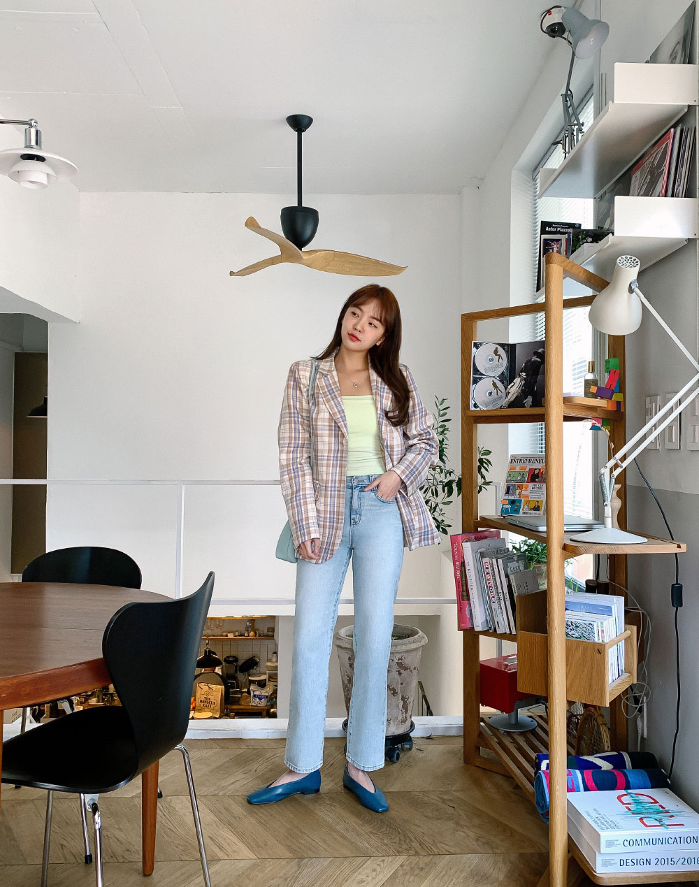 Daily Basic Fit Color Check Jacket