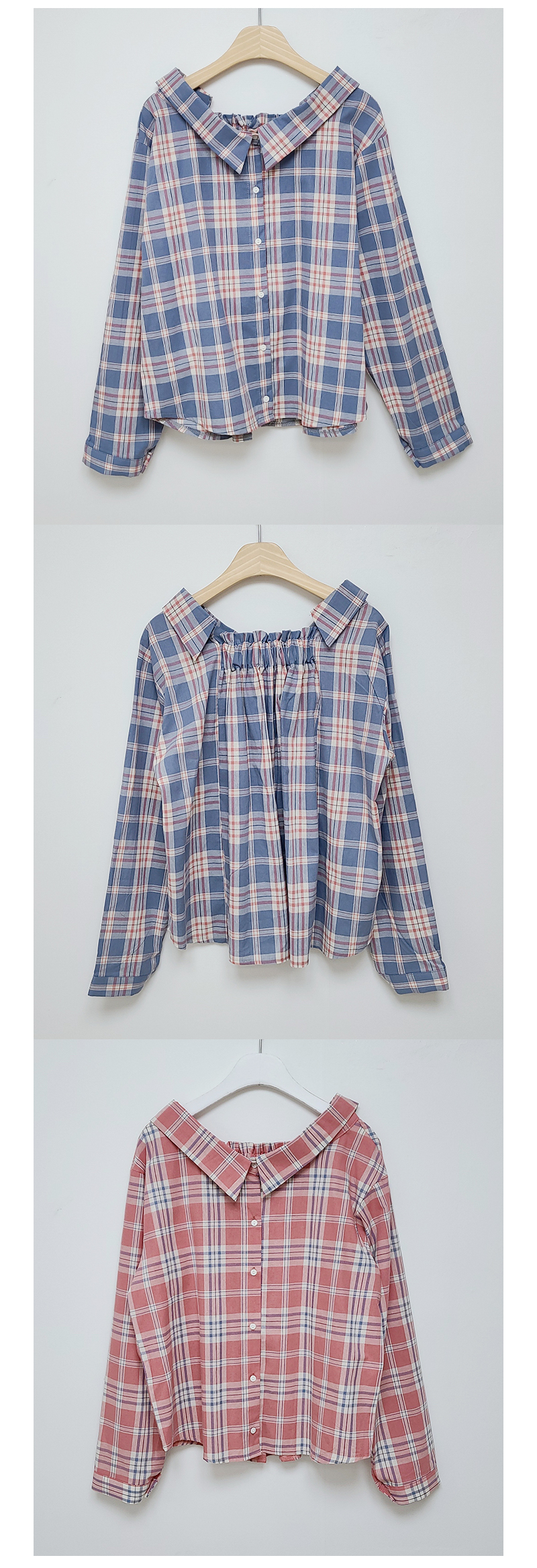 Bloated check shirt blouse