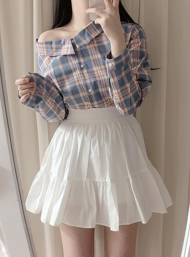 Bloated check shirt blouse ブラウス