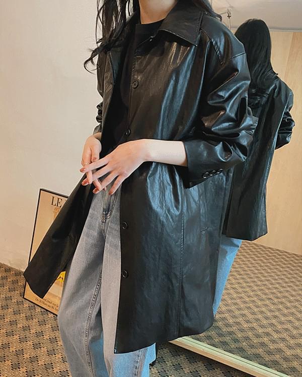 Mood single overfit leather jacket