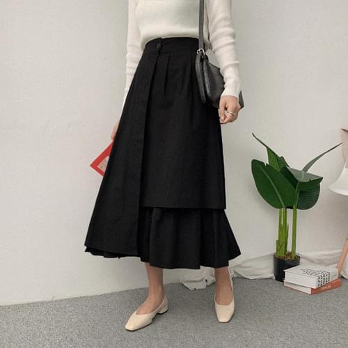 Pleated wrinkled ballon skirt