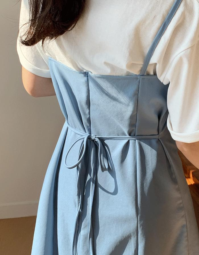 韓國空運 - 方領細肩後綁結收腰吊帶裙 天藍/黑 及膝洋裝