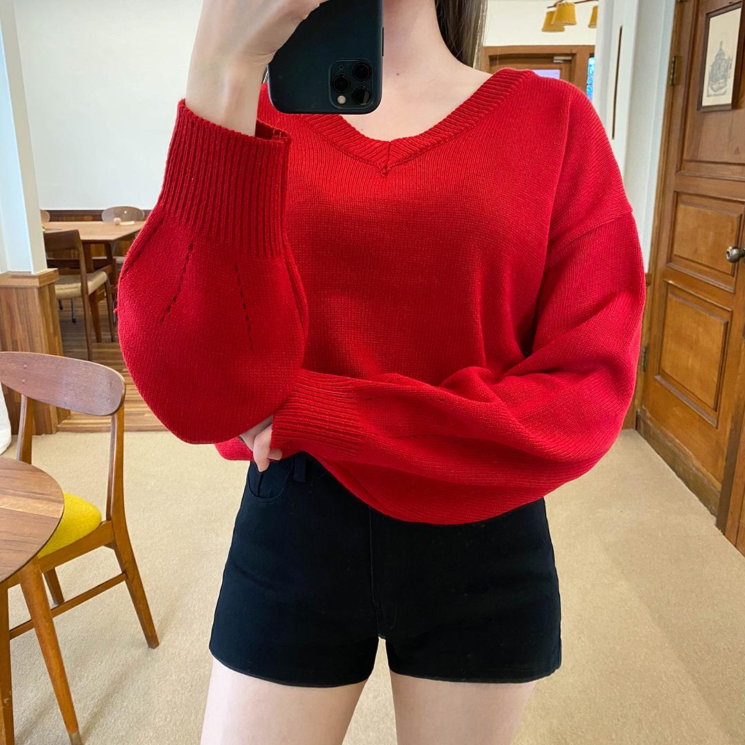 Bennett puff v-neck knit