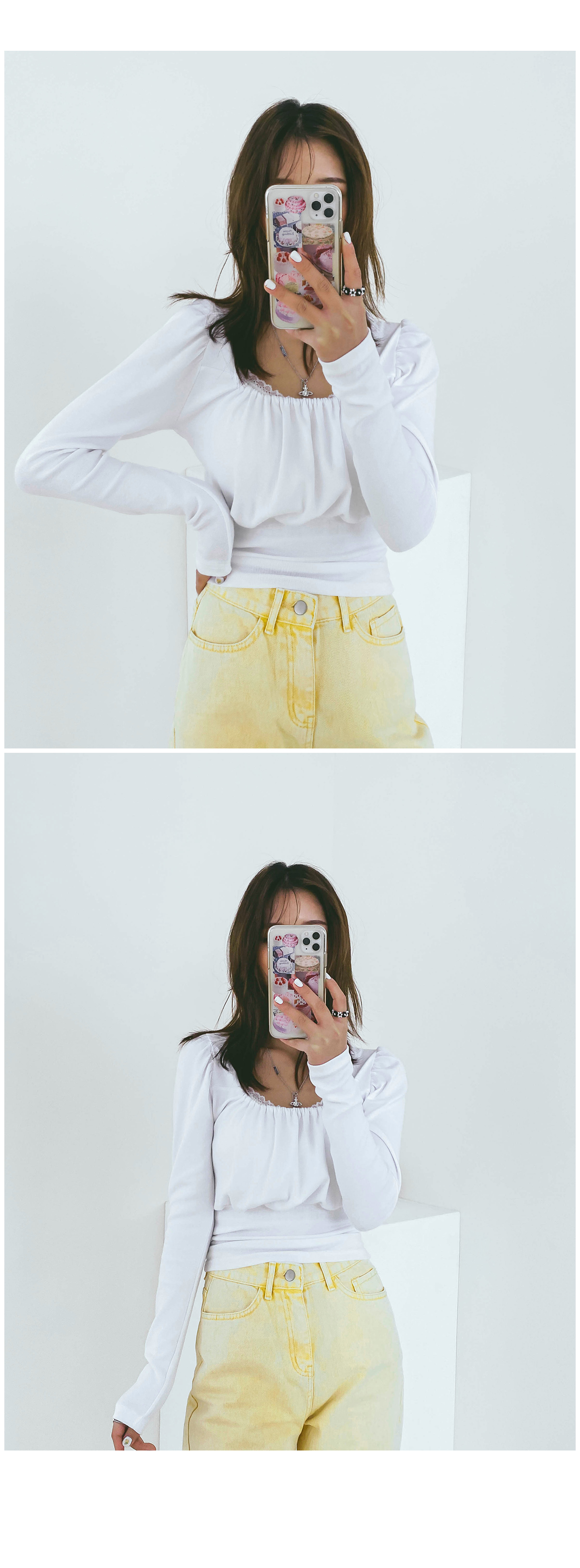 Square Honey Shirring T-shirt