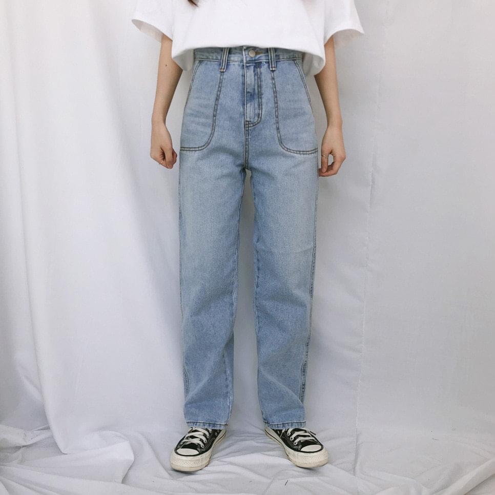 728 points big pocket denim pants