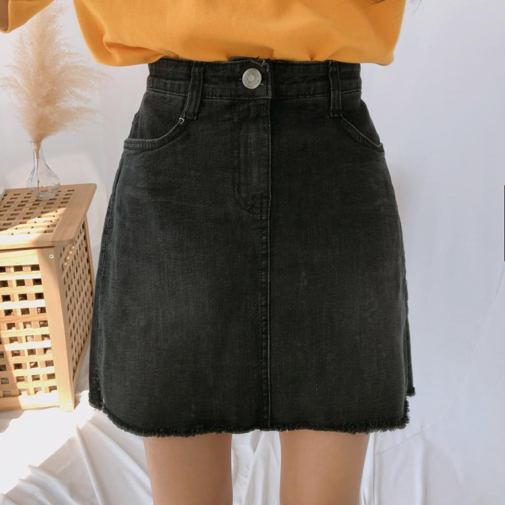 930 A-line cutting mini denim skirt