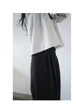 side lace linen pants