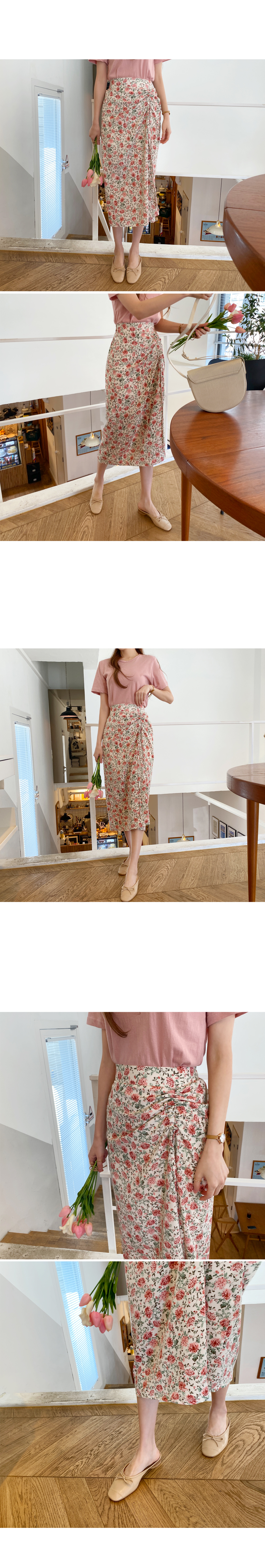 Refreshing spring fragrance shirring long skirt