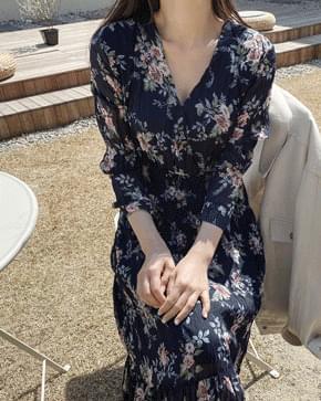 Reflower V Neck Chiffon Long Dress *
