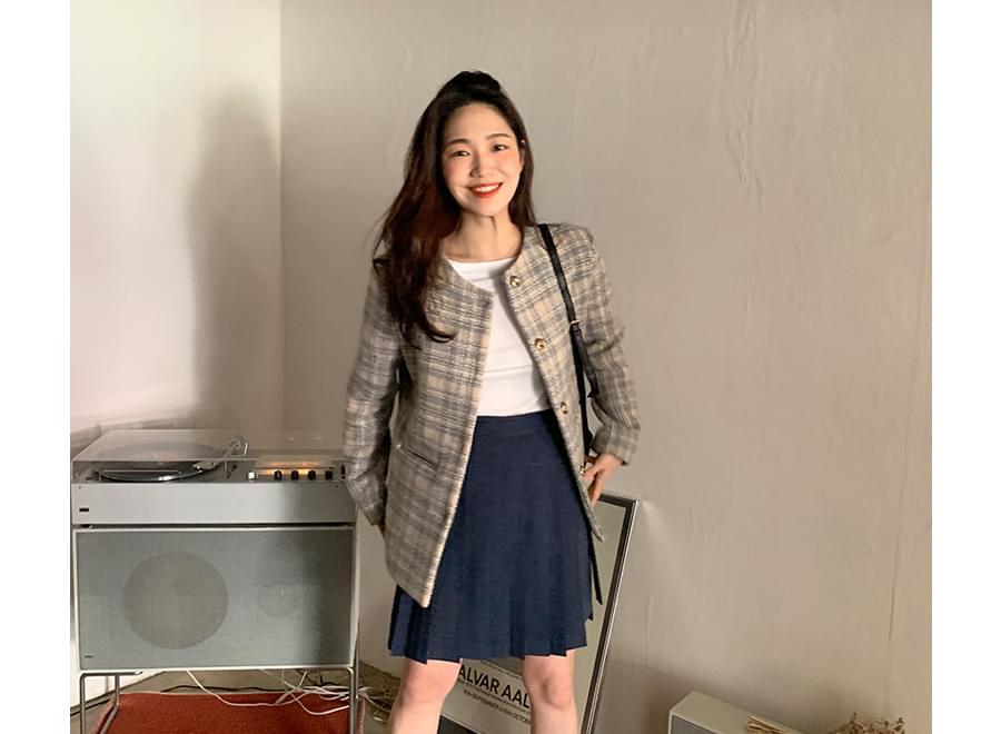 Pleat culottes mini skirt_Y