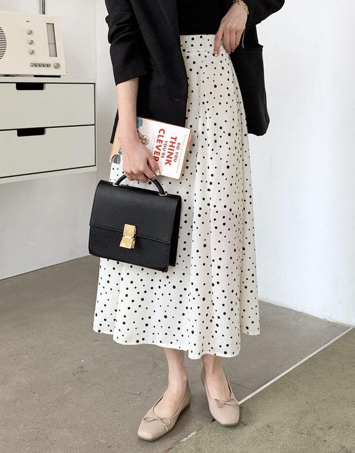 Sheer dot flare long skirt