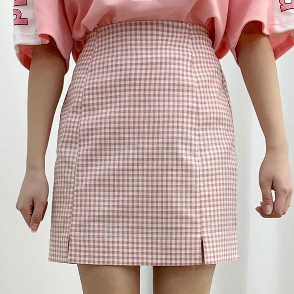 Sherbet check skirt