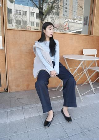 roll-up daily cotton pants (2colors)