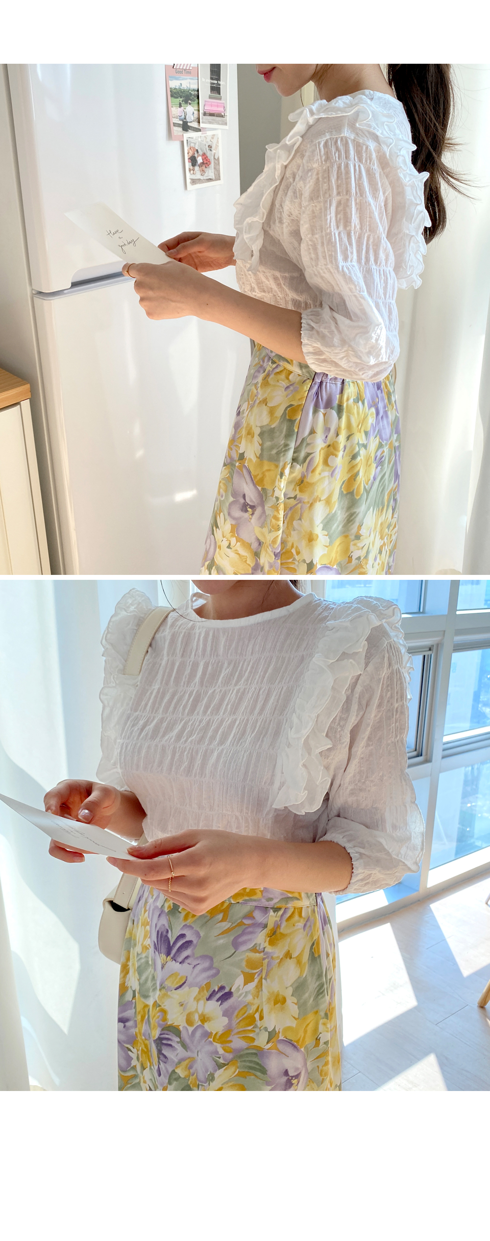 Lovely embo ruffled blouse