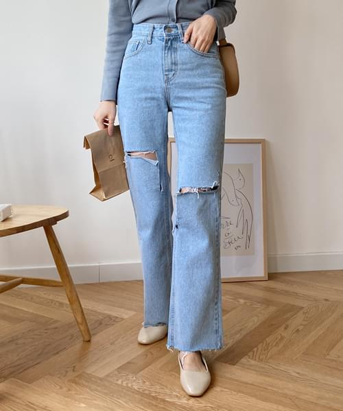 Trendy cutting date denim pants