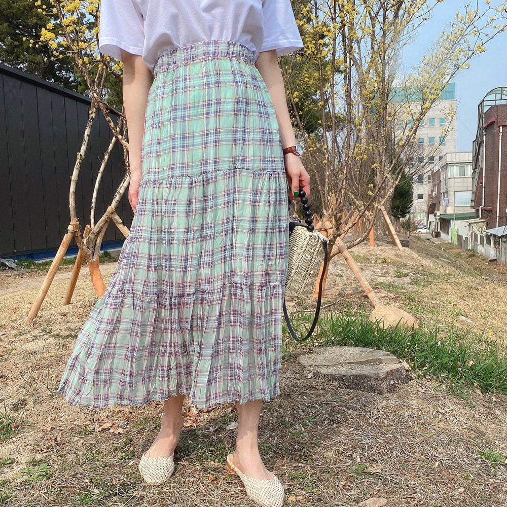 Blooming Check Skirt