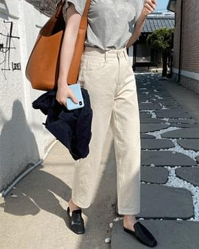 Solid wide cotton pants