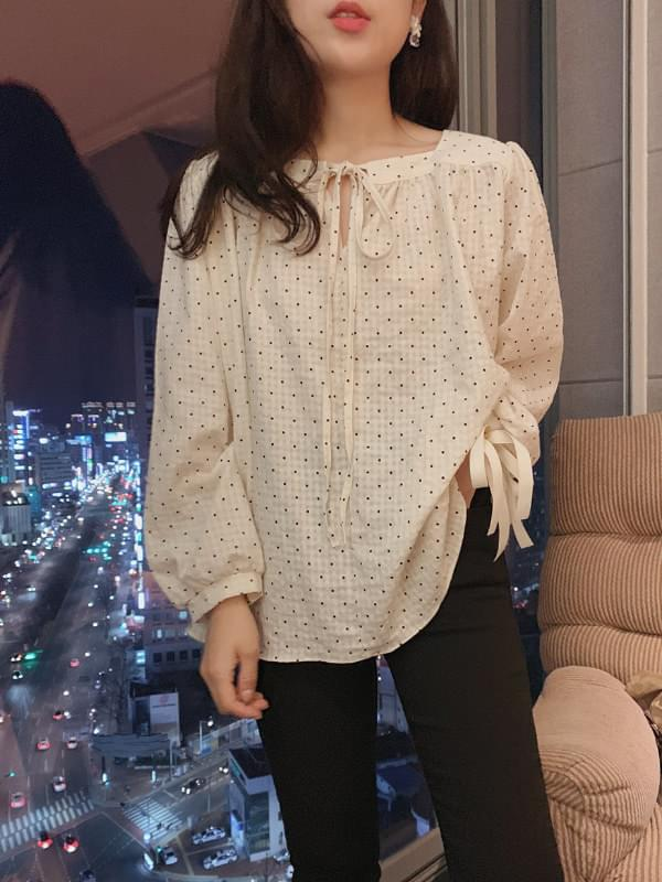 French dot square neck blouse
