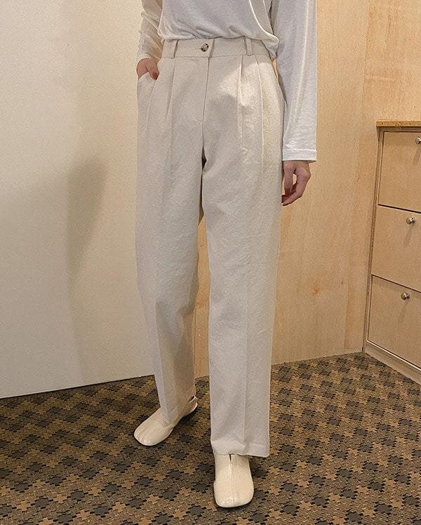 Modern straight cotton trousers