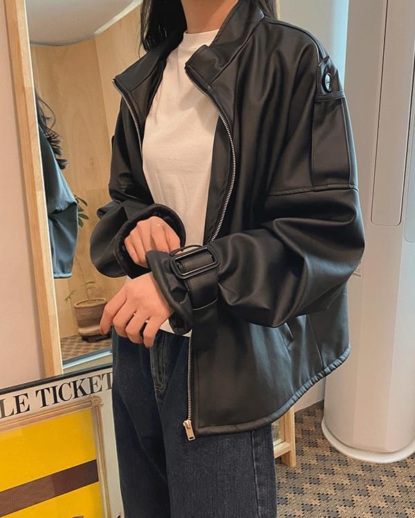 Bijou buckle leather jacket