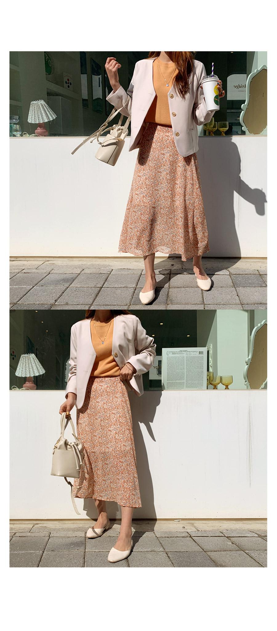 Anymore Flower Chiffon Long Skirt + Modern Opening Jacket + Waffle Puff Balloon Round Knit