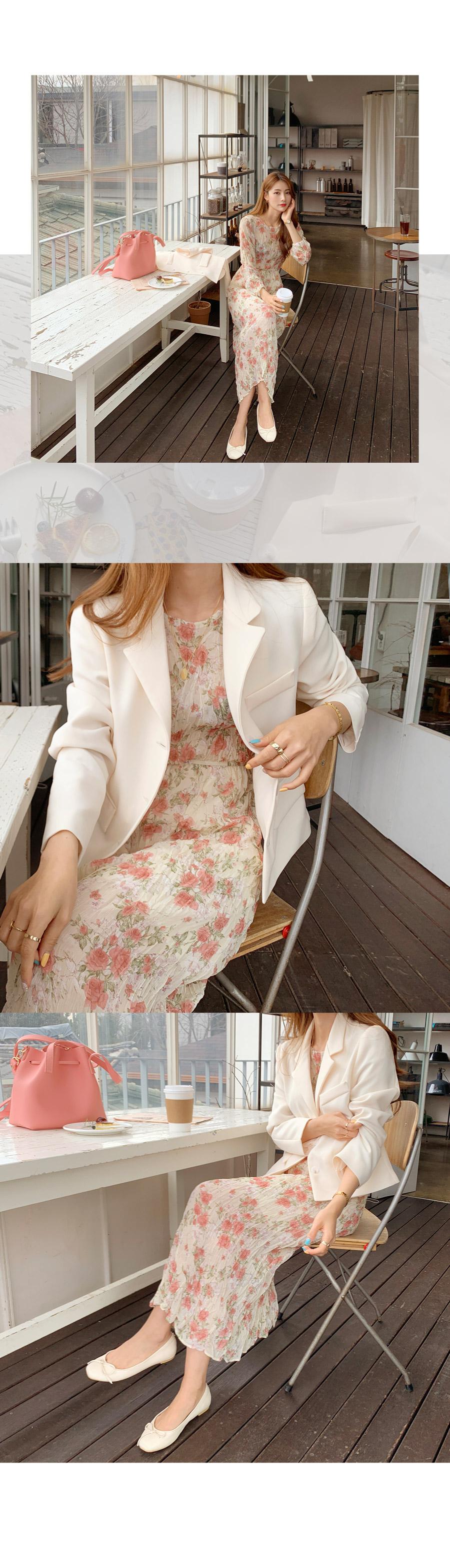 Coco Vanilla Basic Jacket + Rose Wrinkle Flower Long Dress