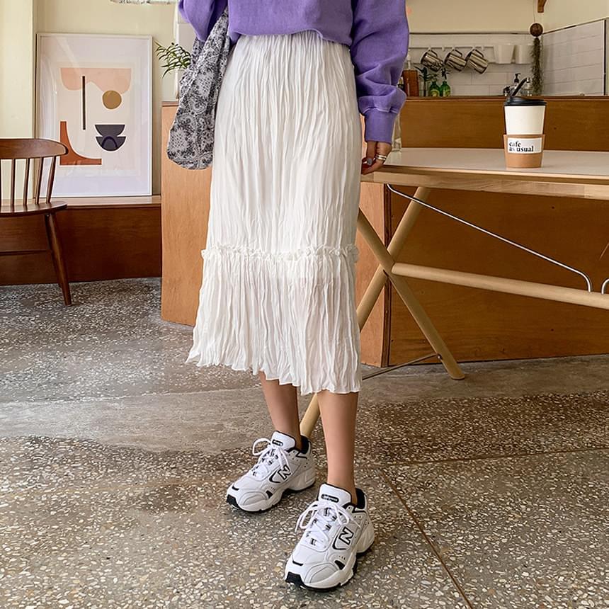 Wrinkle plain skirt