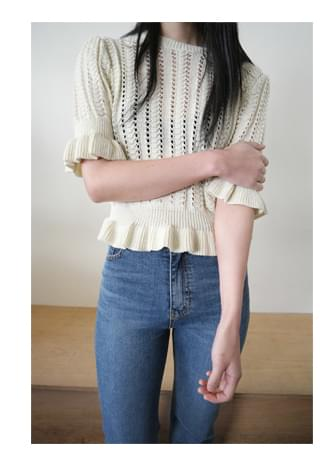 mild punching frill knit (3colors)