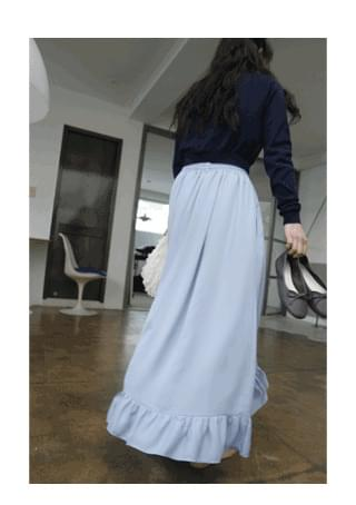 satin frill skirt (2colors)