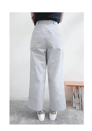 solid roll-up cotton pants (2colors)