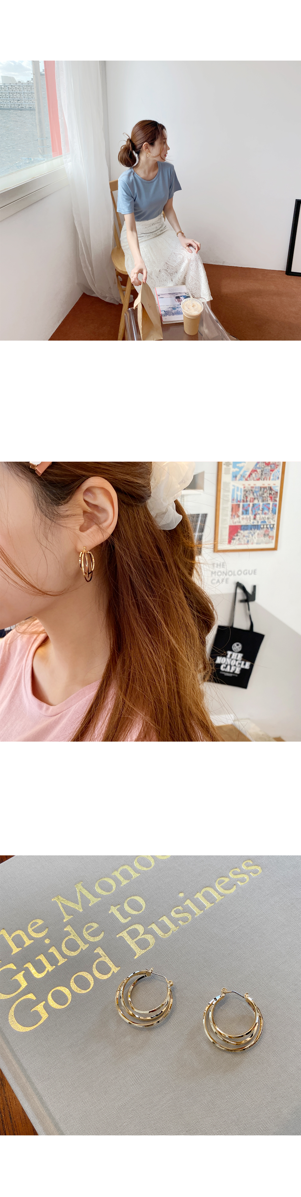 Daily chewy rice cake ring earrings
