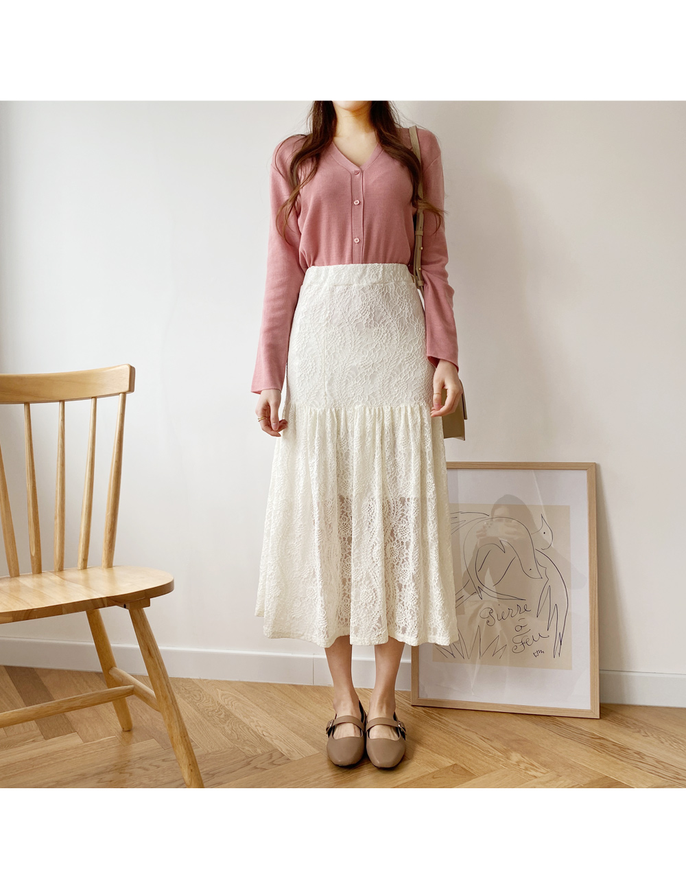 Flarelong skirt with lace
