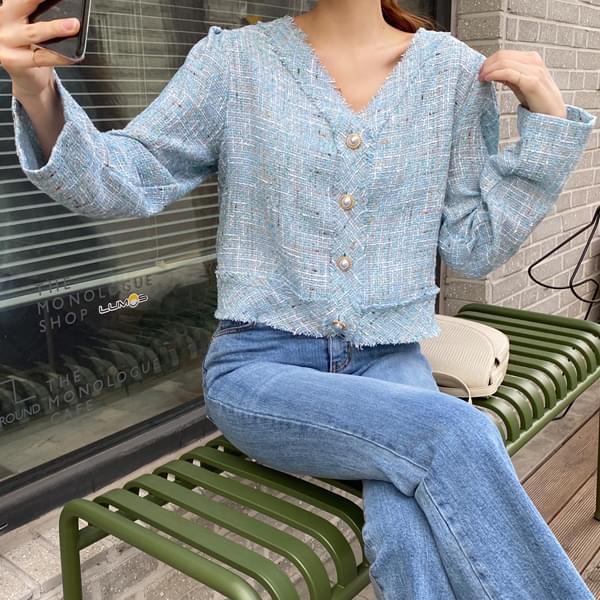 Refreshing tweed pearl cardigan